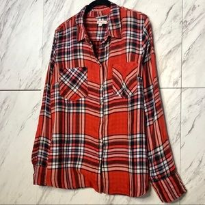 4/$30 Merona Orange Plaid Long Sleeve Button Up XL
